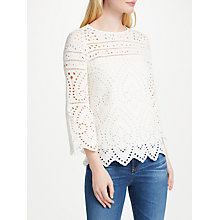 Buy Oui Broderie Lace Top, Eggnog Online at johnlewis.com