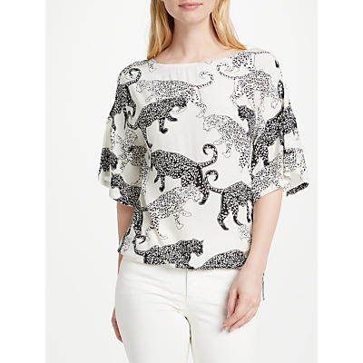 Oui Cat Print Top, Off White/Grey