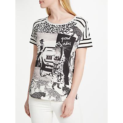 Oui Cow Girl Print T-Shirt, Black/White