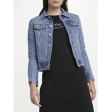 Buy Calvin Klein Clean Line Trucker Denim Jacket, Blue Online at johnlewis.com