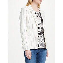 Buy Oui Linen Stripe Blazer, Off White/Grey Online at johnlewis.com