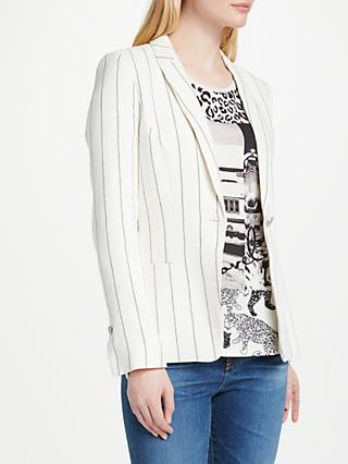 Oui Linen Stripe Blazer, Off White/Grey
