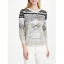 Buy Oui Lola Leo Knit Top, Taupe/White Online at johnlewis.com