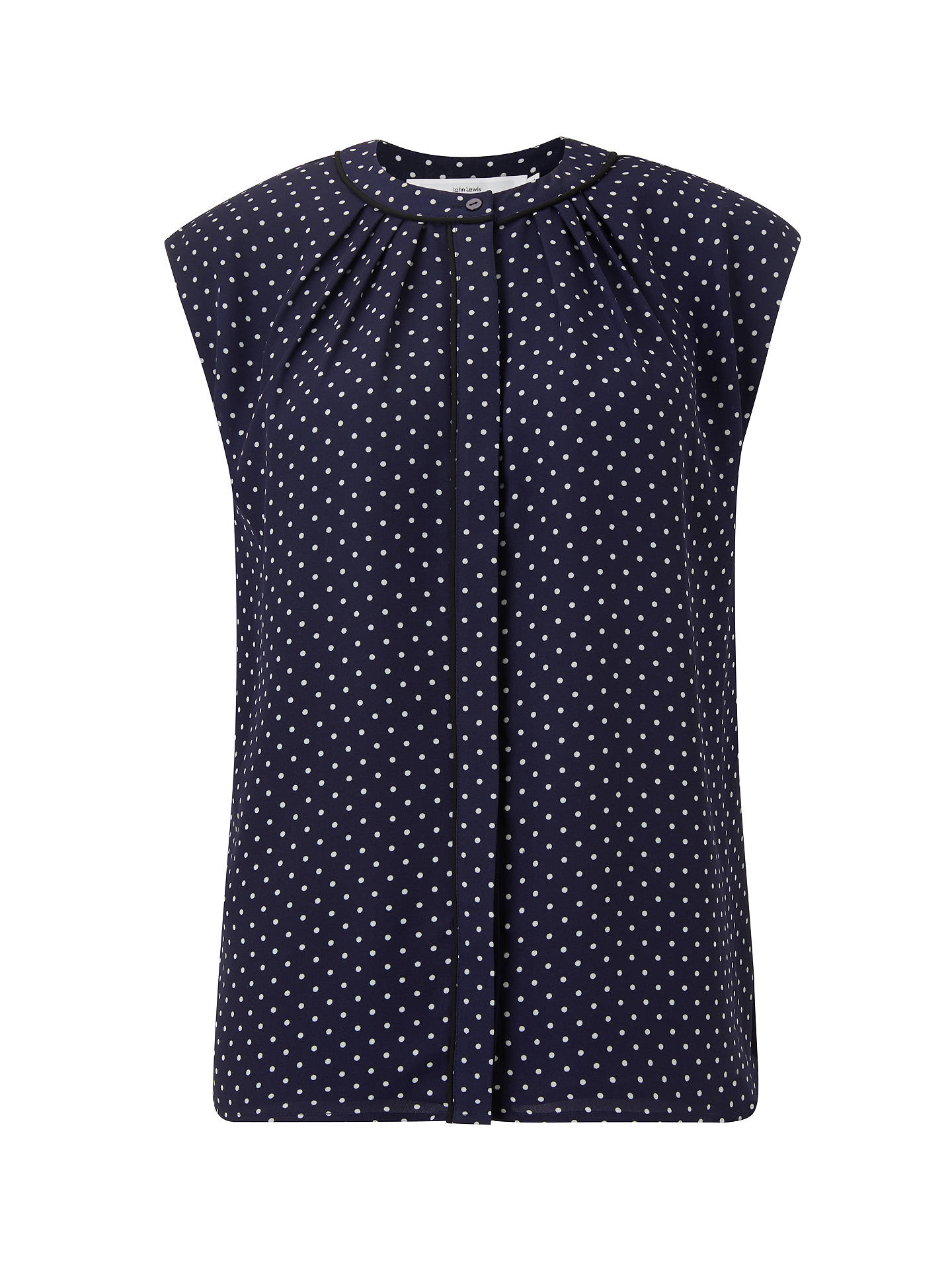 BuyJohn Lewis & Partners Lucienne Pin Dot Blouse, Navy, 8 Online at johnlewis.com