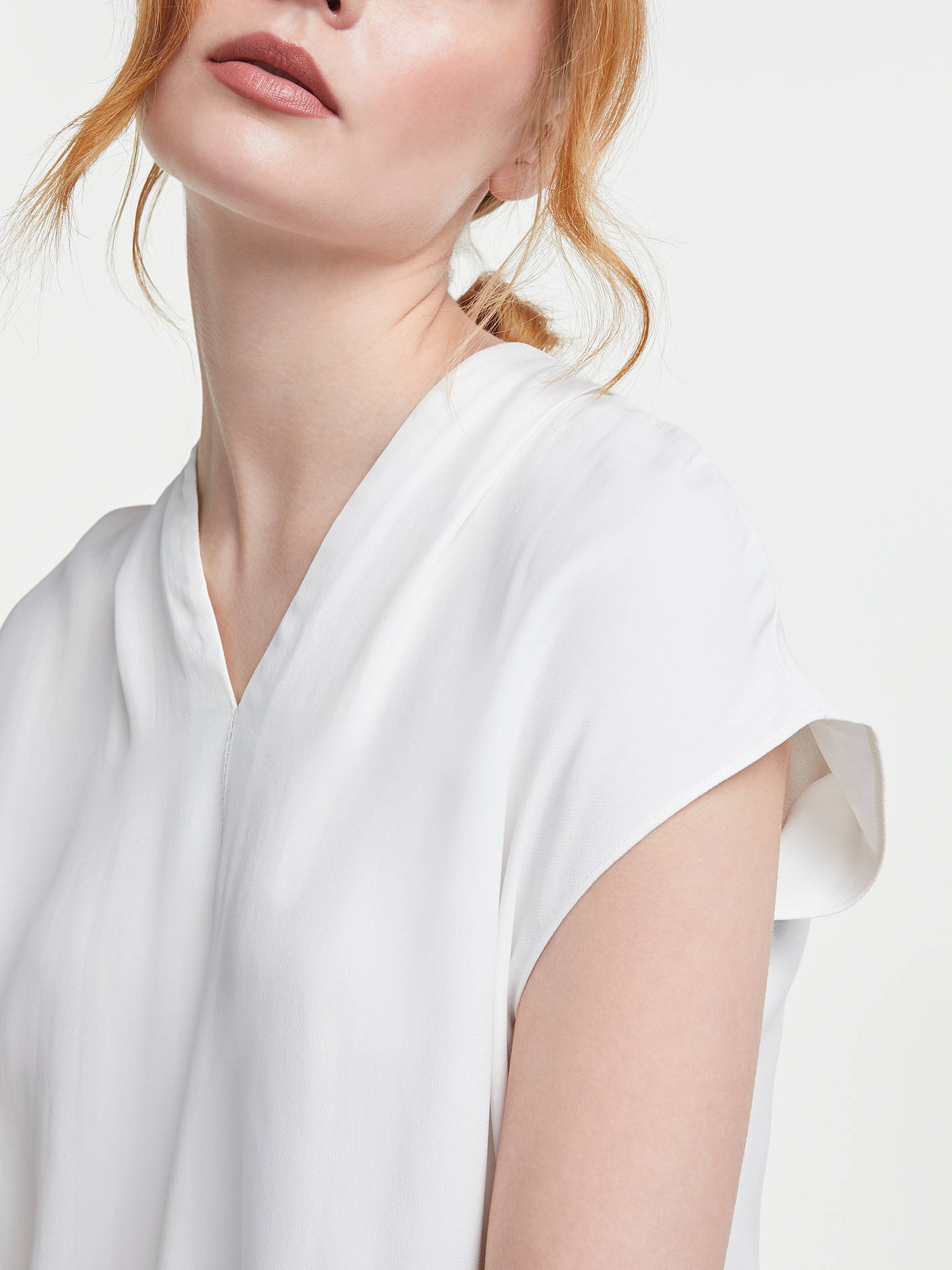 BuyJohn Lewis & Partners Pleat V Neck Blouse, Ivory, 8 Online at johnlewis.com