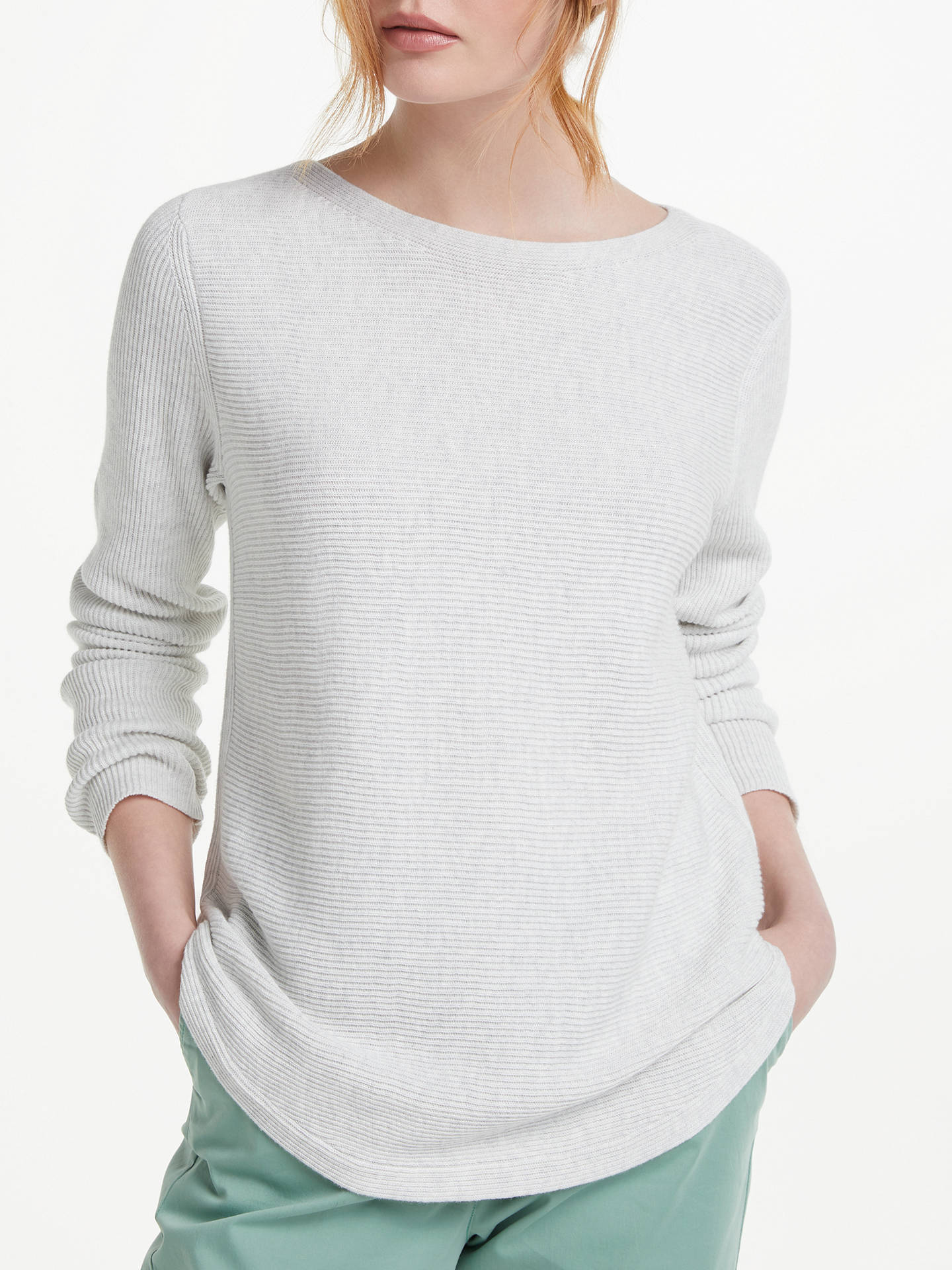 BuyJohn Lewis & Partners Rib Stitch Boat Neck Jumper, Grey Marl, 8 Online at johnlewis.com