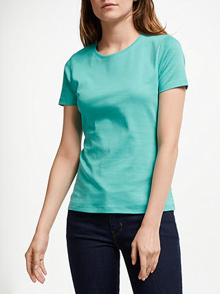 Buy John Lewis & Partners Crew Neck T-Shirt, Peacock Green, 8 Online at johnlewis.com