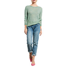 Buy hush Stripe Boat Neck Jumper, Granite Green/White Online at johnlewis.com
