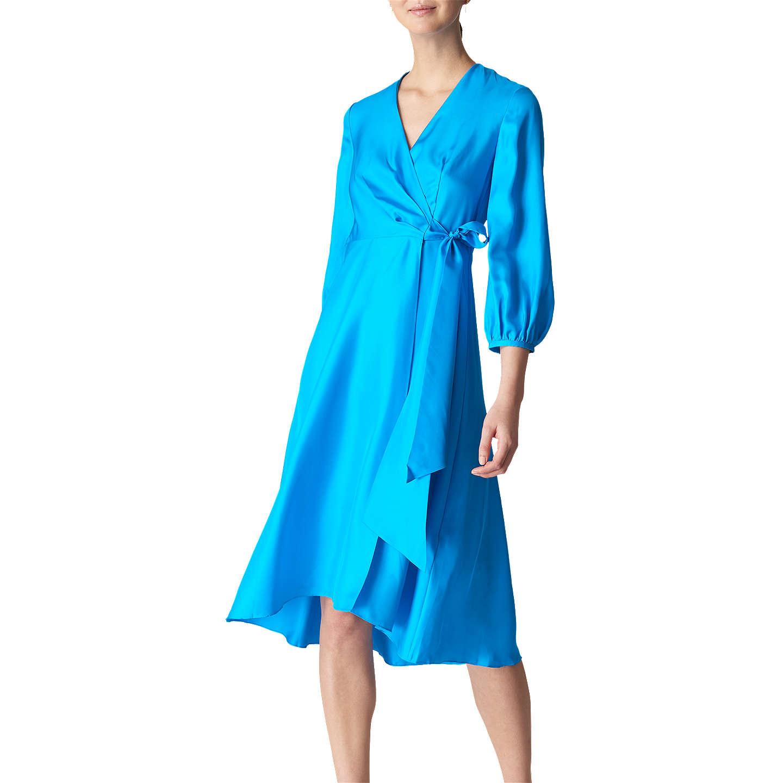 Whistles Callie Silk Wrap Dress, Turquoise at John Lewis