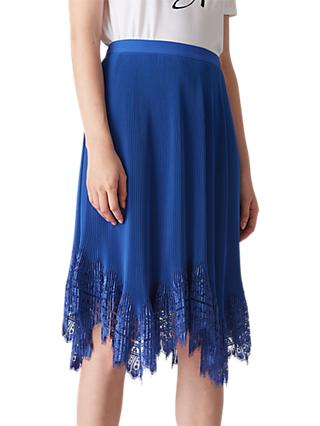 Whistles Dahlia Pleated Skirt, Blue