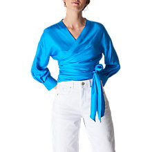 Buy Whistles Serena Silk Wrap Top, Turquiose Online at johnlewis.com