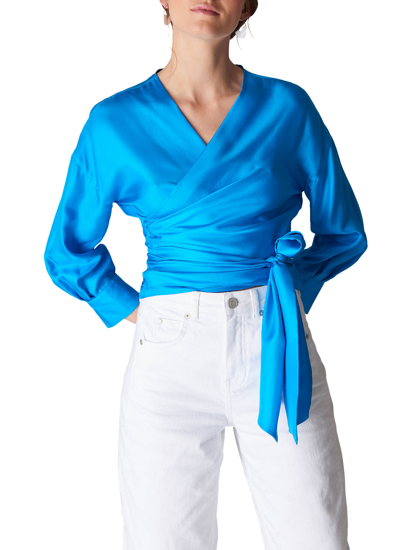 a165d308f09fb6 Buy Whistles Serena Silk Wrap Top, Turquoise, 6 Online at johnlewis.com ...