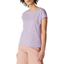 Buy Whistles Minimal Short Sleeve Top, Lilac Online at johnlewis.com