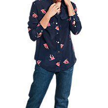 Buy hush Silk Bird Print Shirt, Midnight/Pink Online at johnlewis.com