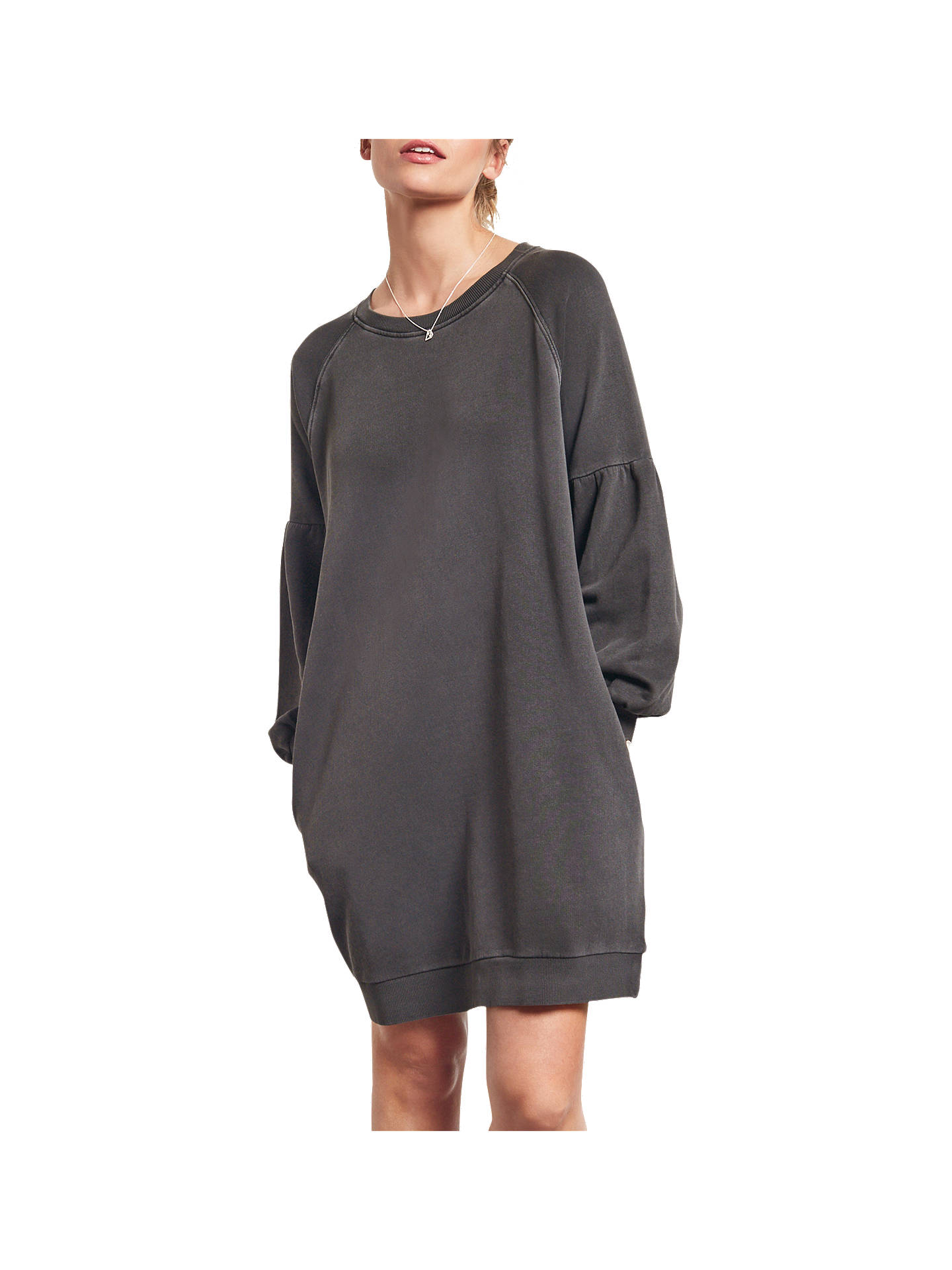 33c5e63449df Buy hush Puff Sleeve Sweatshirt Dress, Washed Black, XS Online at  johnlewis.com ...