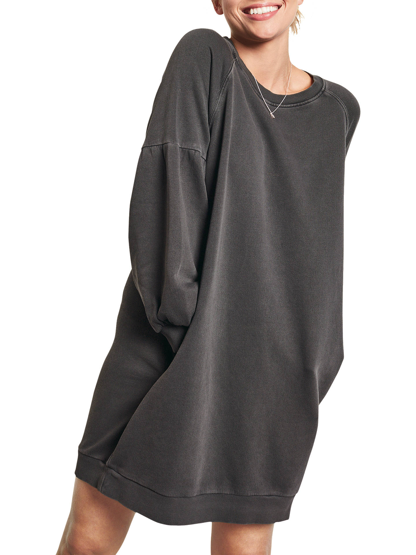 446649d77c77 ... Buy hush Puff Sleeve Sweatshirt Dress, Washed Black, XS Online at  johnlewis.com