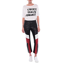 Buy French Connection Evia Leather Biker Trousers, Blazer Red/Black/White Online at johnlewis.com