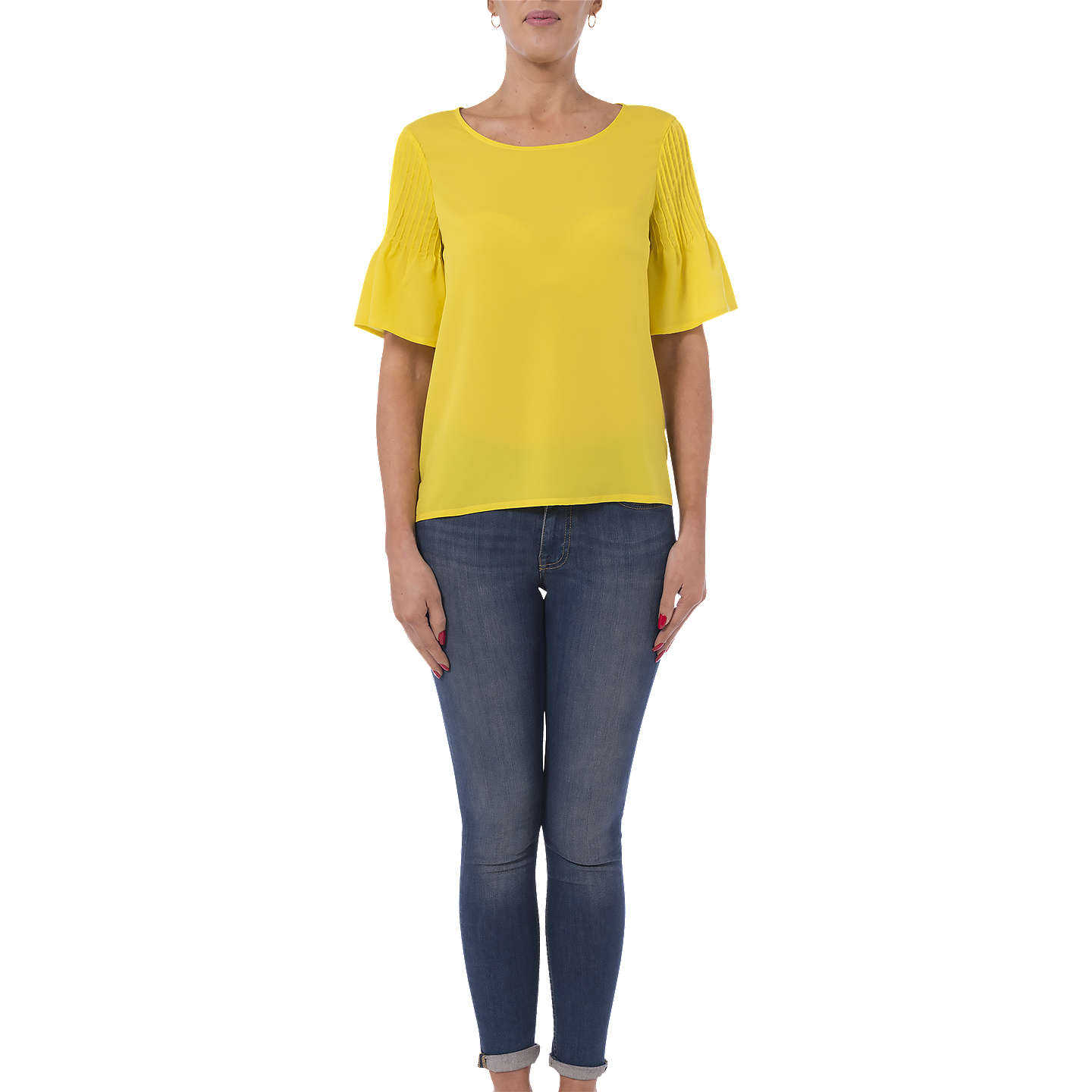 French Connection Classic Crepe Light Top, Dark Citron by French Connection