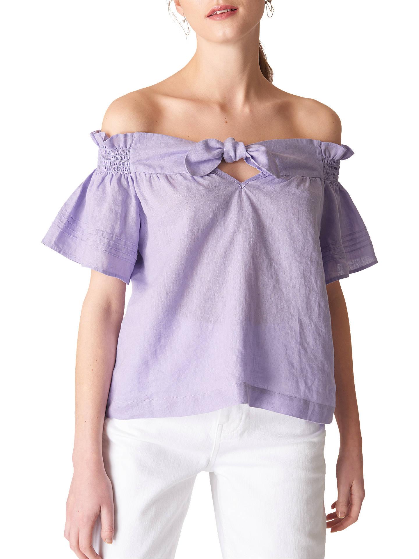 1c0086cfa4e27 Buy Whistles Tie Front Bardot Linen Top