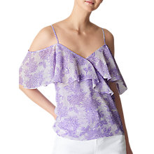 Buy Whistles Cold Shoulder Print Frill Top, Lilac Online at johnlewis.com