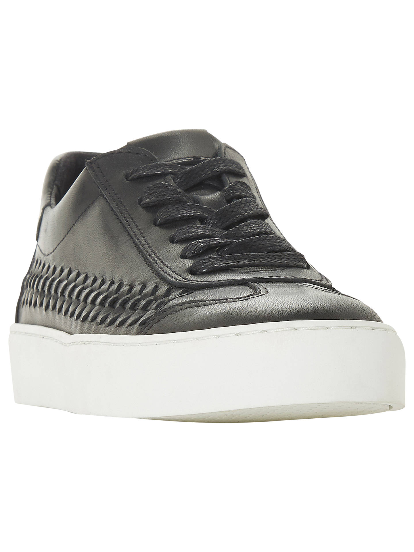BuyDune Elurru Woven Detail Trainers, Black Leather, 3 Online at johnlewis.com