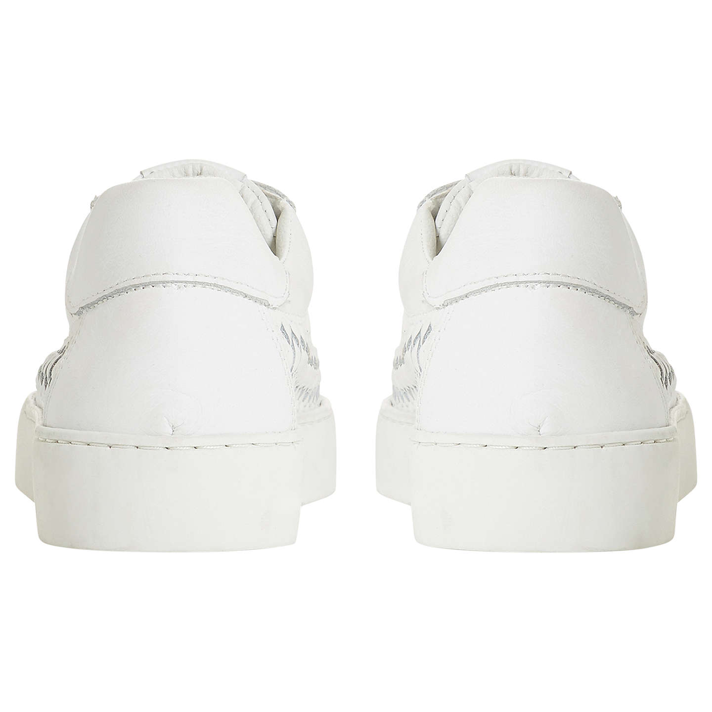BuyDune Elurru Woven Detail Trainers, White Leather, 3 Online at johnlewis.com