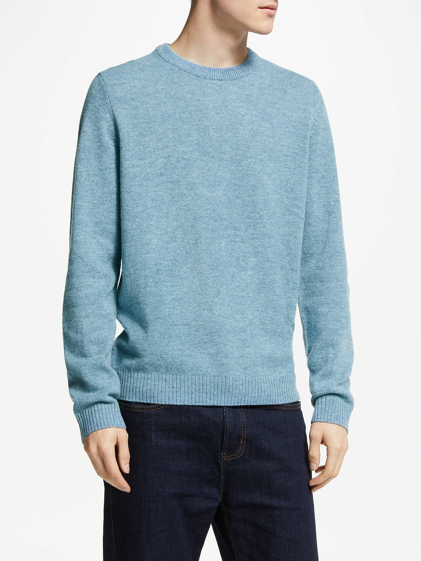 BuyJohn Lewis & Partners Merino Cashmere Crew Neck Jumper, Pale Blue, S Online at johnlewis.com