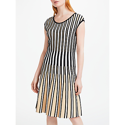 Marc Cain Knitted Pleated Striped Dress, Sisal
