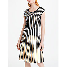Buy Marc Cain Knitted Pleated Striped Dress, Sisal Online at johnlewis.com