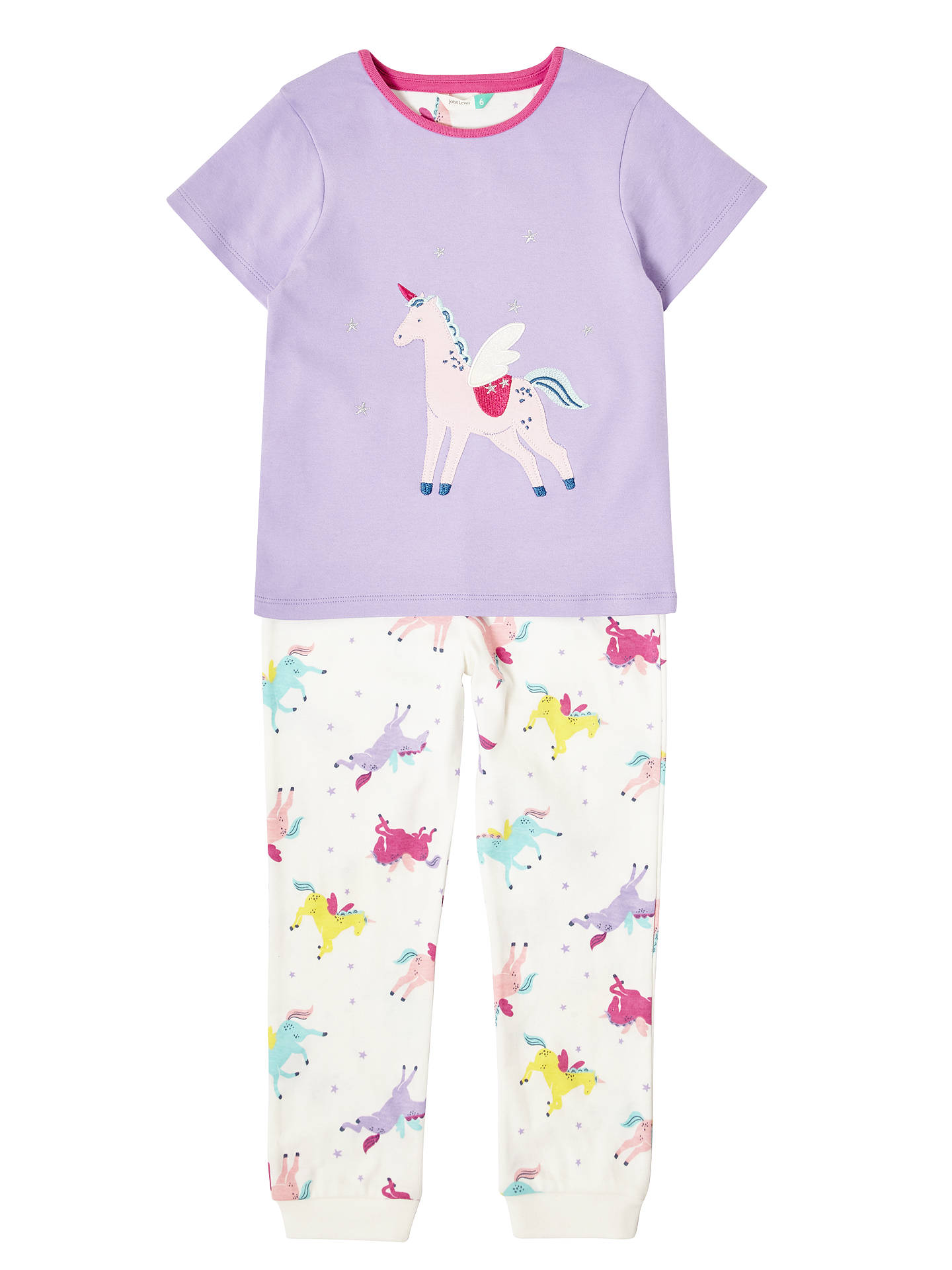 340627099 Buy John Lewis & Partners Girls' Unicorn Pyjamas, Lilac, 2 years Online at  ...
