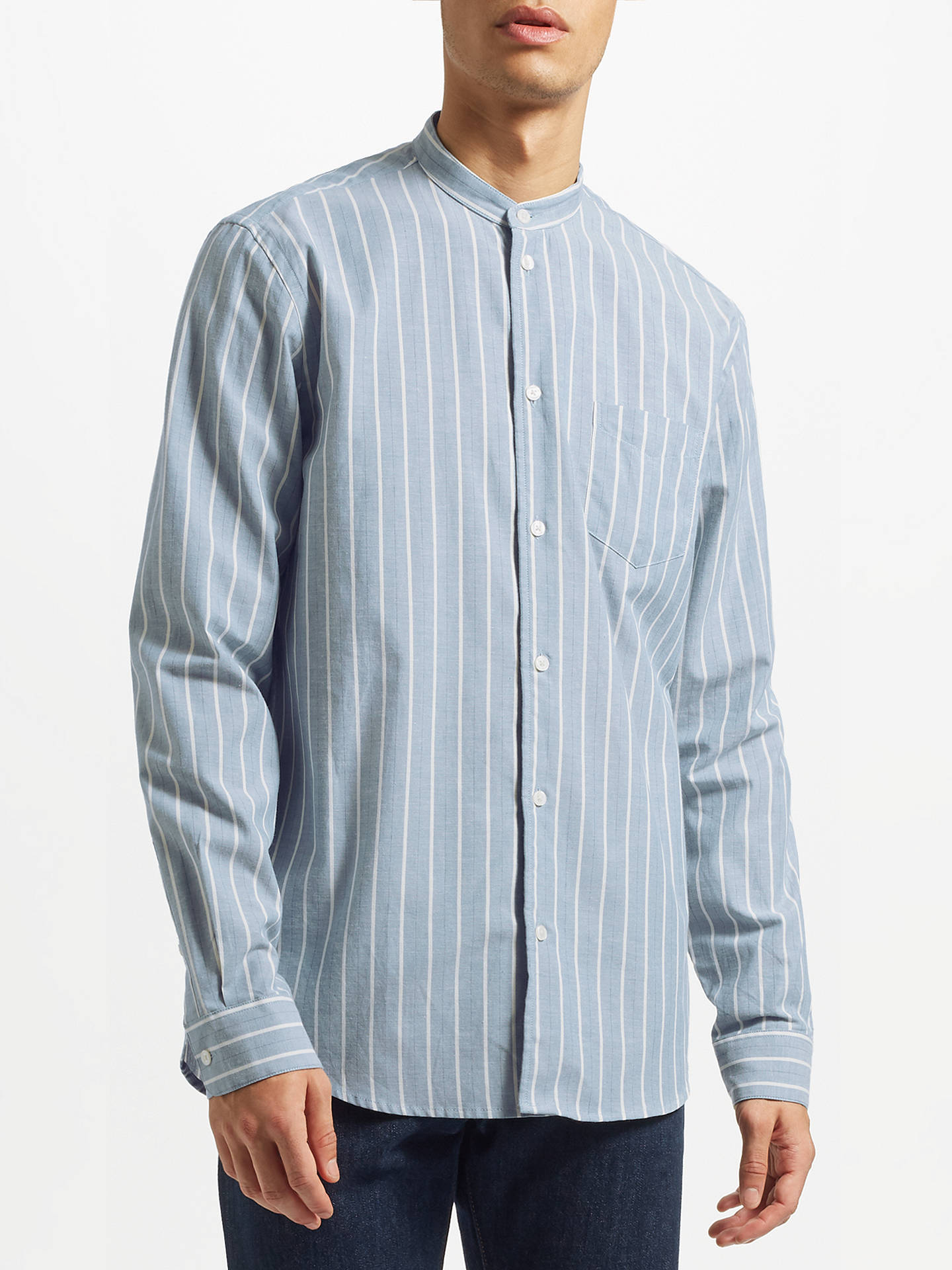Buy Samsoe & Samsoe Liam Stripe Shirt, Light Blue Stripe, XL Online at johnlewis.com
