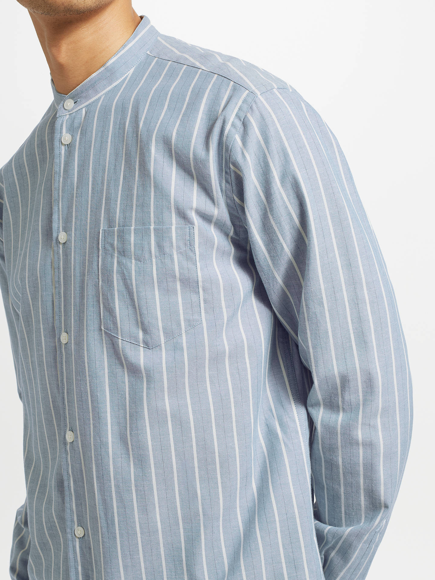 Buy Samsoe & Samsoe Liam Stripe Shirt, Light Blue Stripe, L Online at johnlewis.com