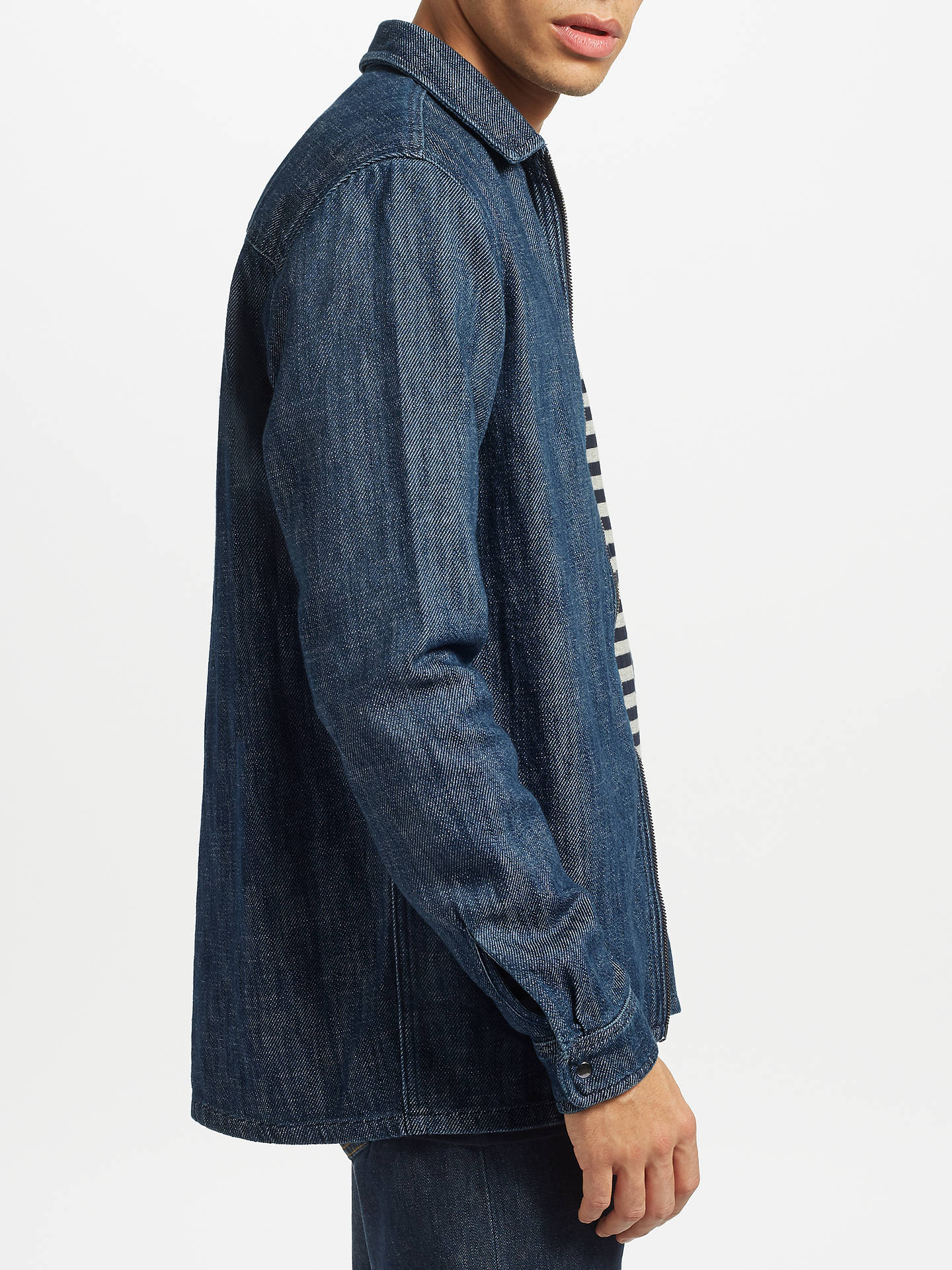 Buy Samsoe & Samsoe Walt Denim Zip Through Shirt, Dark Denim, S Online at johnlewis.com