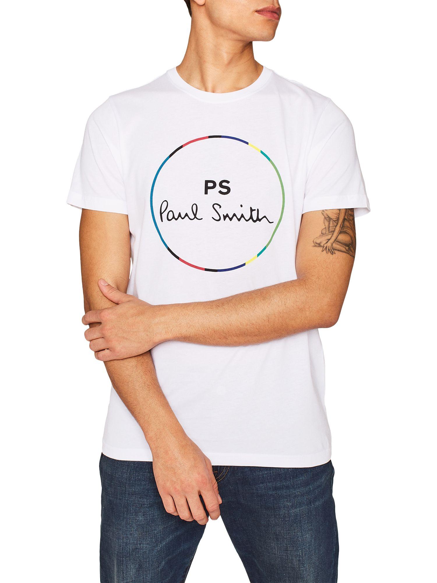 e4008d86 PS Paul Smith Circle Print Short Sleeve T-Shirt, White at John Lewis ...