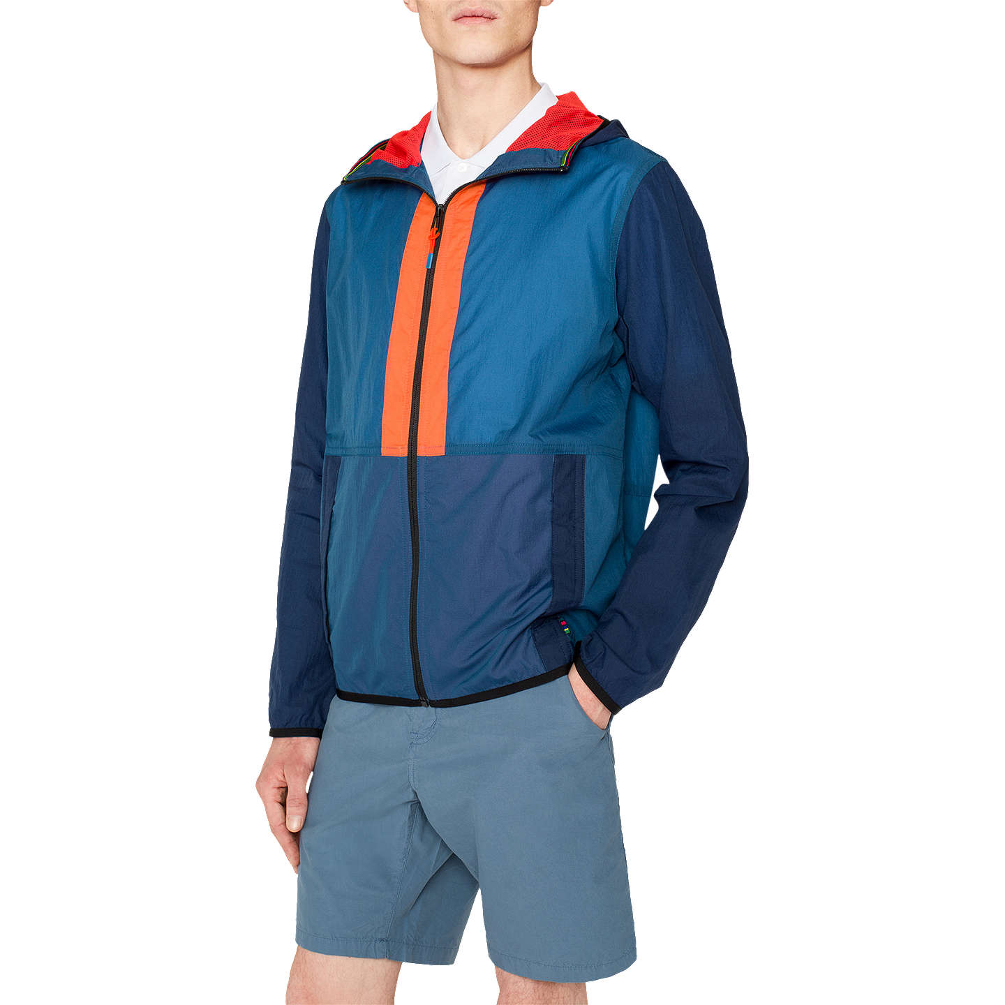 PS Paul Smith Rip Stop Hooded Contrast Jacket, Blue at John Lewis