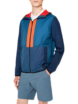 Buy PS Paul Smith Rip Stop Hooded Contrast Jacket, Blue, S Online at johnlewis.com