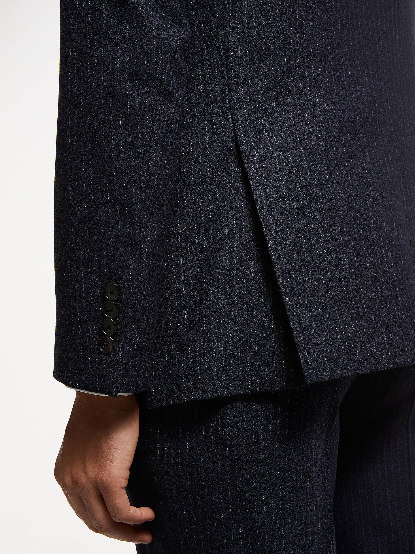 BuyJohn Lewis & Partners Crepe Stripe Tailored Suit Jacket, Navy, 42R Online at johnlewis.com