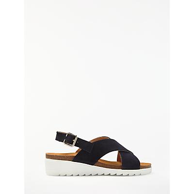 John Lewis Designed for Comfort Konnie Wedge Heel Sandals, Navy Suede