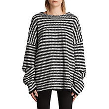 Buy AllSaints Abigail Crew Jumper, Black/Chalk Online at johnlewis.com