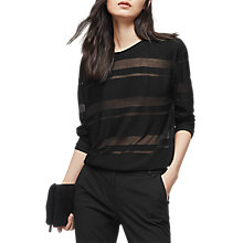 Buy Reiss Dione Burn Out Strip Top, Black Online at johnlewis.com