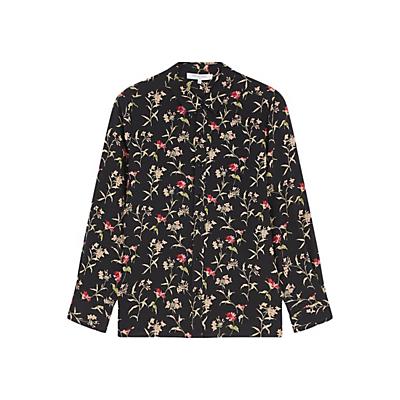 Gerard Darel Chemise Silk Floral Blouse, Black