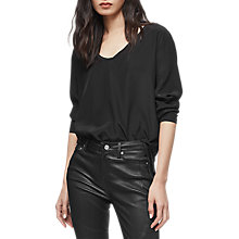 Buy Reiss Meg Long Sleeve T-Shirt, Black Online at johnlewis.com