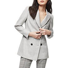 Buy Reiss Logan Longline Double Breasted Jacket, Grey Online at johnlewis.com