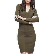 Buy Reiss Polly Stitch Detail Dress, Khaki Online at johnlewis.com