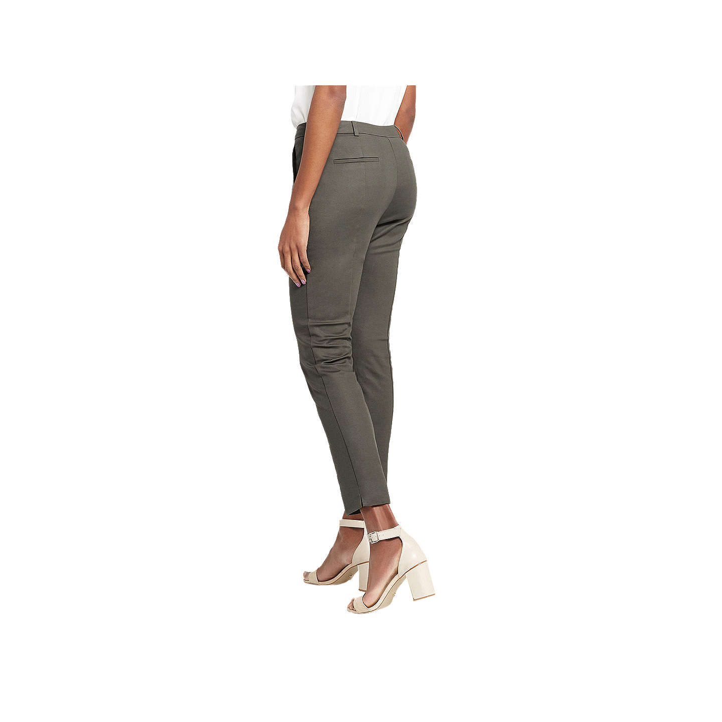 BuyOasis Compact Cotton Trousers, Khaki, 6 Online at johnlewis.com