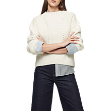 Buy Reiss Megan Ribbed Crew Neck Jumper, Off White Online at johnlewis.com