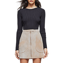 Buy Reiss Greca Wide Rib Crew Neck Top, Navy Online at johnlewis.com