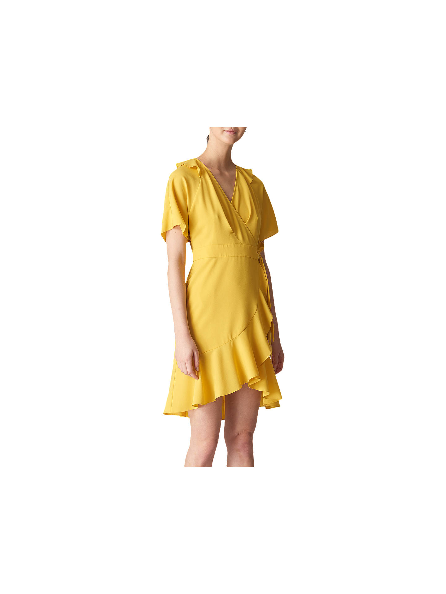 c5852f0831 Buy Whistles Abigail Frill Wrap Dress, Yellow, 6 Online at johnlewis.com ...