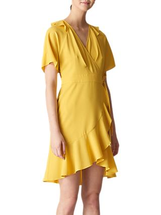 Whistles Abigail Frill Wrap Dress, Yellow