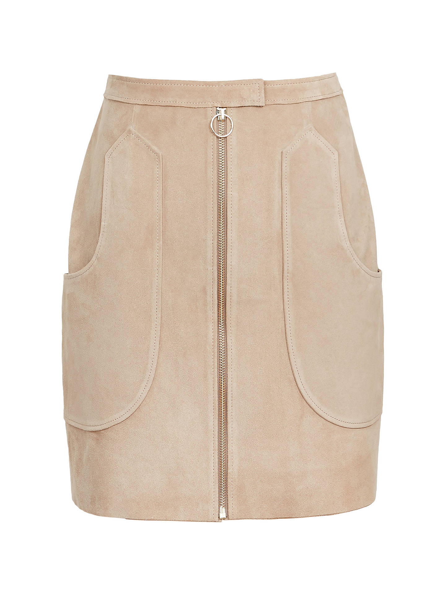 202193a24 ... Buy Reiss Keaton Suede Mini Skirt, Sand, 6 Online at johnlewis.com ...